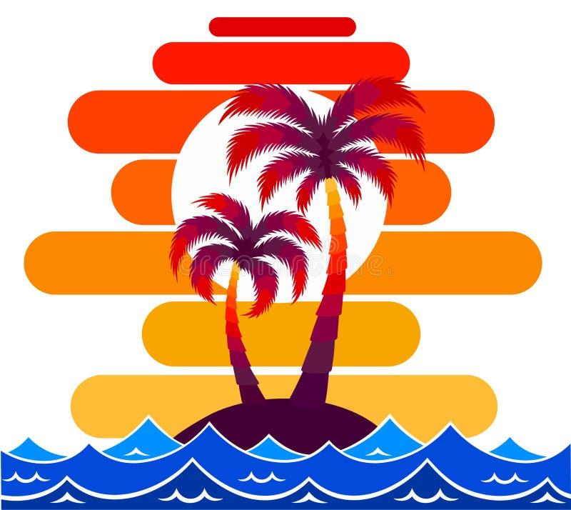 Праздники туризма солнца острова тропиков перемещения печати искусства дизайна океана моря волн захода солнца иллюстрации вектора бесплатная иллюстрация