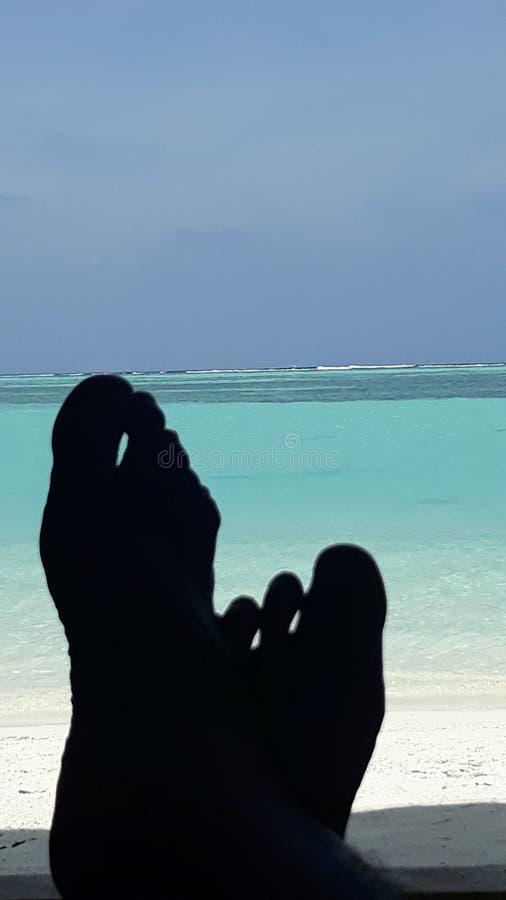 Праздник в пляжном мальдиве и вид на море стоковые фото