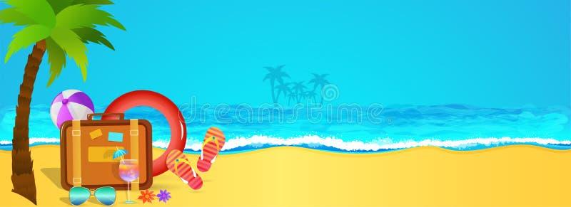 Праздник, дизайн знамени сети с взглядом пляжа, пальмой, trav иллюстрация вектора