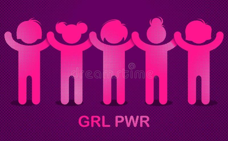 Праздник дня женщин 8-ое марта международный, женская концепция солидарности, бой для допуска прав и равность, феминизм, сила дев иллюстрация штока