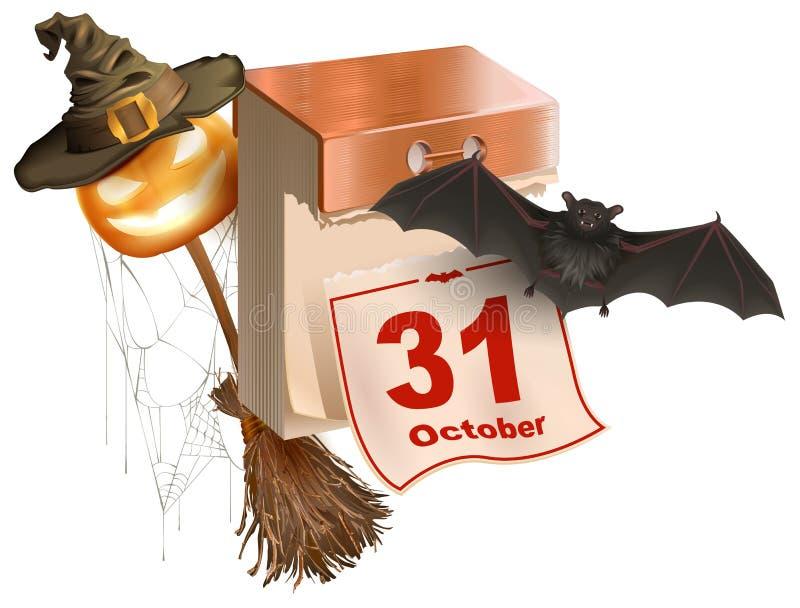 Праздник 31-ое октября хеллоуина Календарь разрыва- Фонарик тыквы хеллоуина вспомогательный, летучая мышь, веник, сеть паука, шля иллюстрация вектора