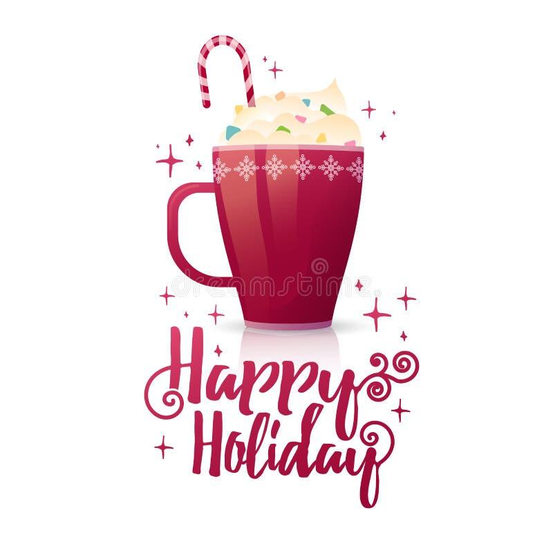 Праздник сезонного знамени дизайна счастливый Шаблон плаката с кружкой горячего напитка Пить рождества с какао или бесплатная иллюстрация