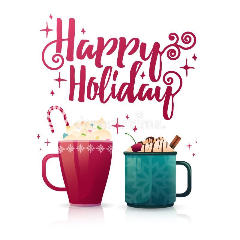 Праздник сезонного знамени дизайна счастливый Шаблон плаката с несколько горячими кружками напитка Пить рождества с кофе иллюстрация вектора