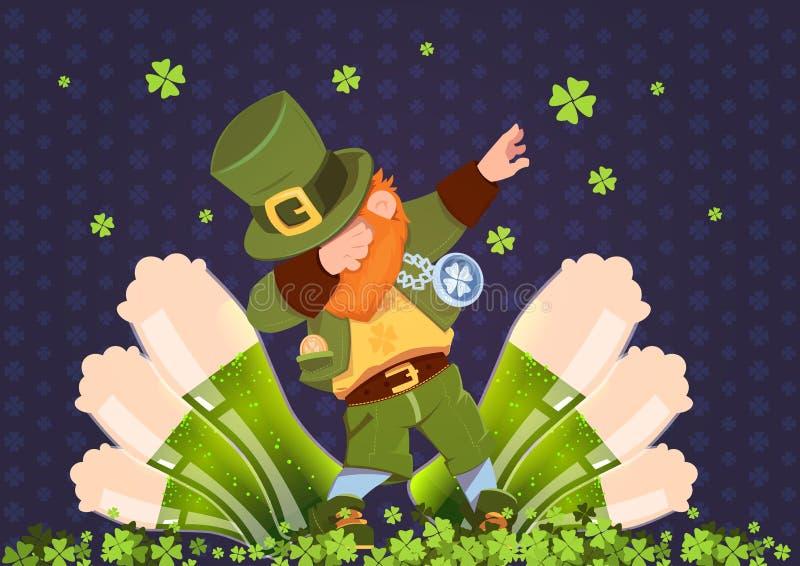 Праздник фестиваля счастливого дня St Patricks ирландский с зеленым лепреконом над стеклами пива бесплатная иллюстрация
