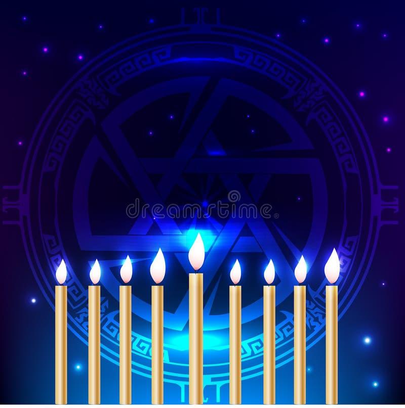 Праздник Хануки традиционный еврейский Счастливая предпосылка Хануки синяя с звездой Дэвида, 9 горящих свечей иллюстрация штока