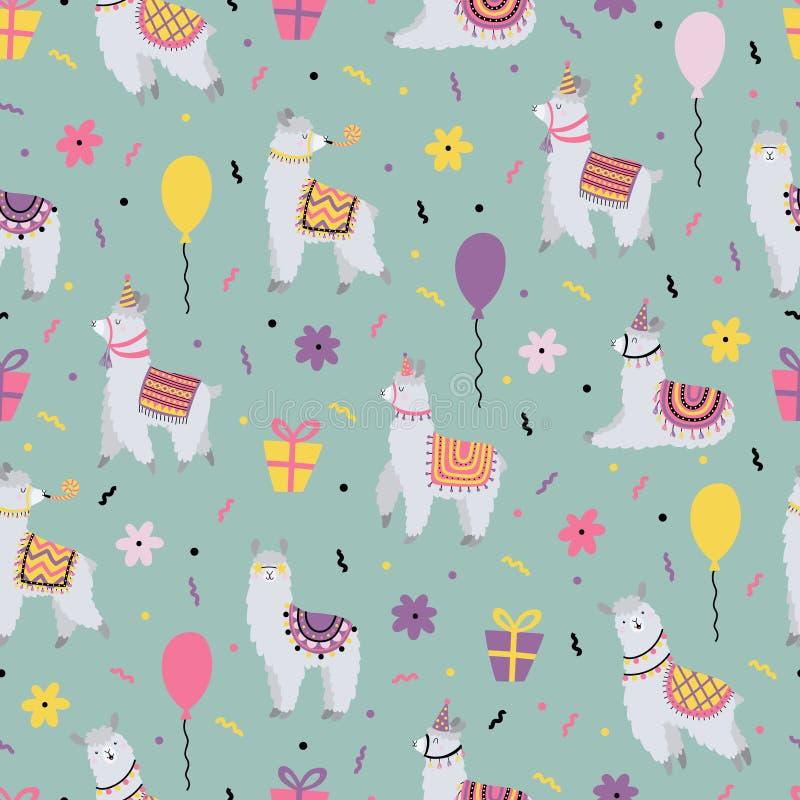 Праздничная безшовная картина с смешными ламами Для дня рождения стоковое изображение rf