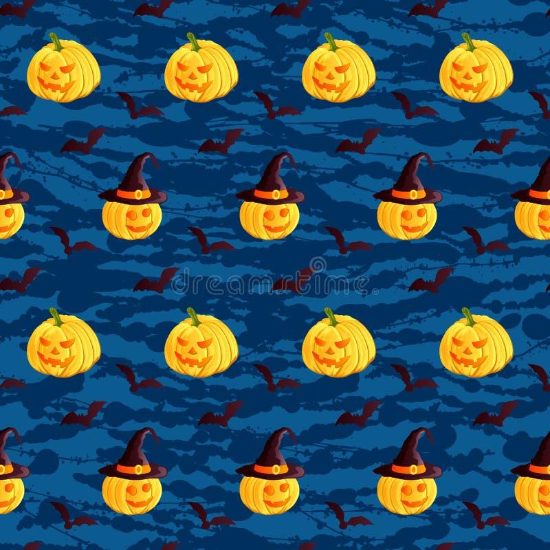 Праздничная безшовная картина Характеры хеллоуина поднимают фонарик домкратом o, шляпу ведьмы, летучую мышь на синей предпосылке  иллюстрация штока