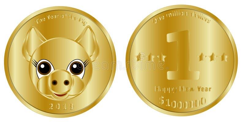 Праздничная золотая монета миллиона долларов, голов и хвост, предназначенных до новое 2019, год свиньи иллюстрация вектора