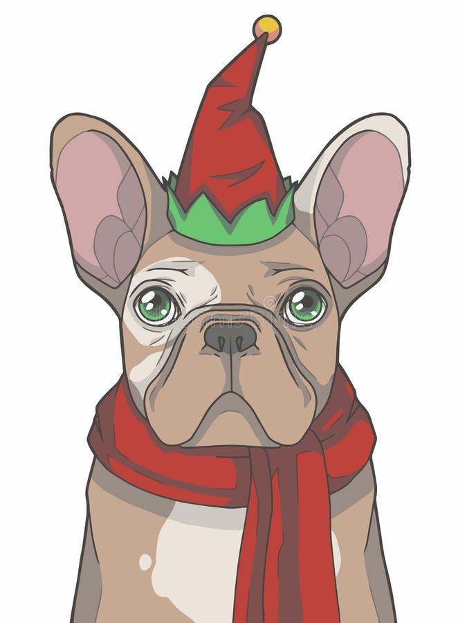 Праздничная пестрая собака французского бульдога одевает как эльф рождества с красной иллюстрацией вектора шляпы и шарфа зимы гра иллюстрация вектора