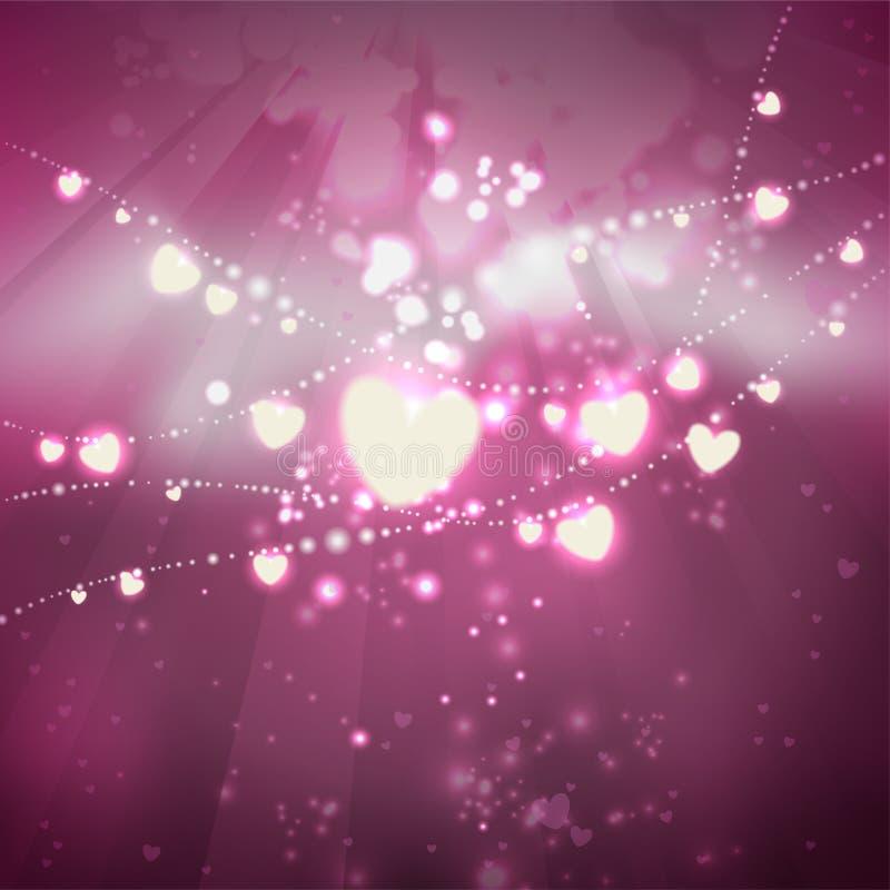 Праздничная предпосылка ко дню Святого Валентина Гирлянды накаляя сердец на розовой предпосылке стилизованное свободной руки элем иллюстрация штока