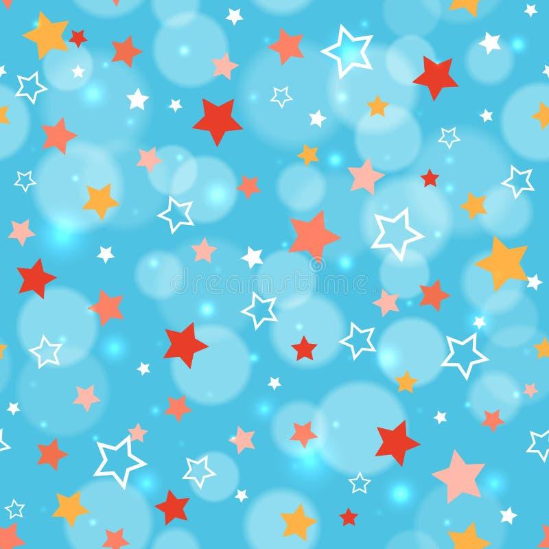 Праздничная предпосылка с multi звездами цвета Картина праздника безшовная Предпосылка партии праздничная Картина для упаковочной иллюстрация штока
