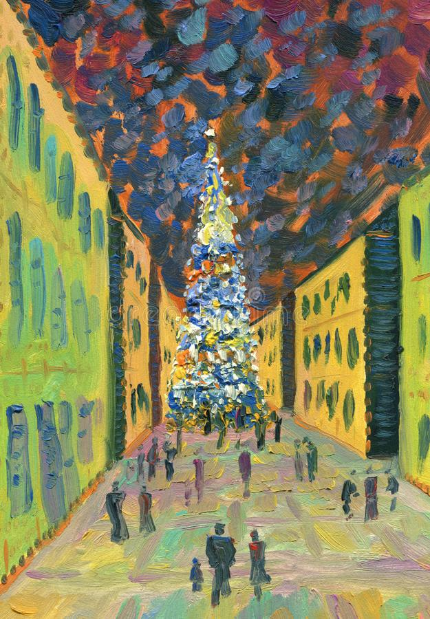 Праздничная улица города вечера время конца рождества предпосылки красное вверх Gree праздника иллюстрация вектора