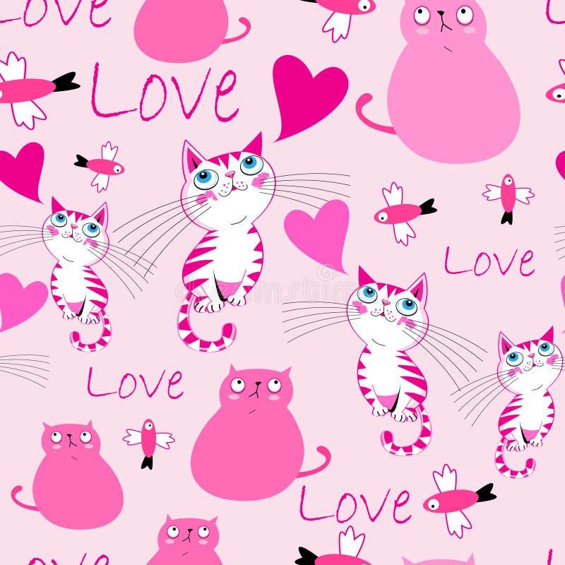 Праздничная яркая картина с котами в любов бесплатная иллюстрация