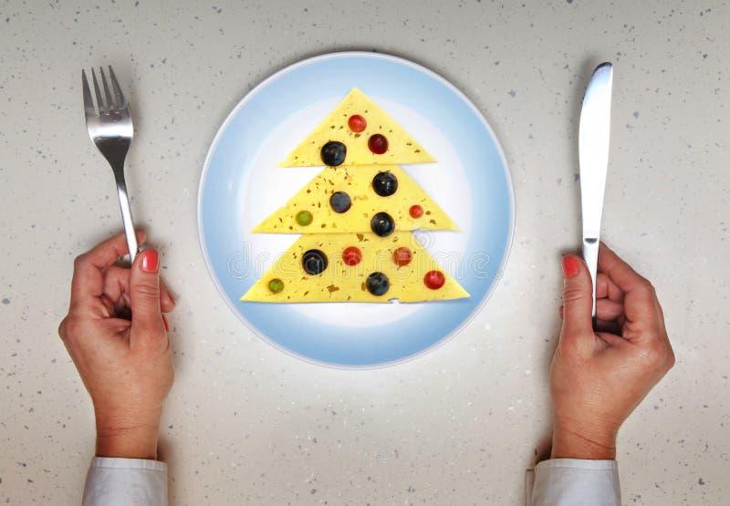 Праздничное блюдо, который служат на рождестве стоковые изображения rf