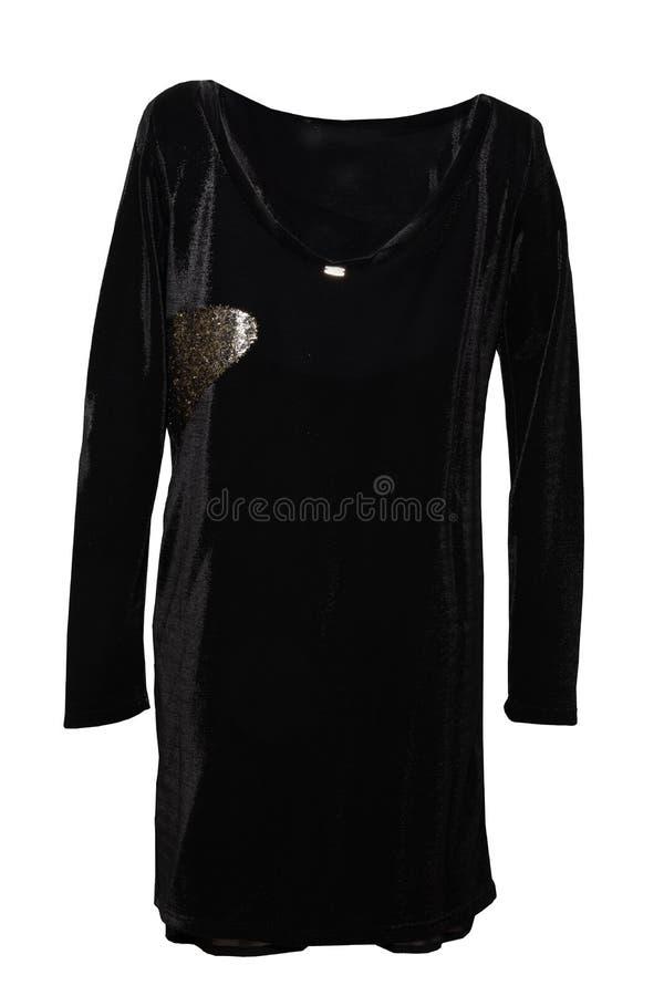 Праздничное элегантное черное платье вечера шнурка с золотыми орнаментами я стоковое фото rf