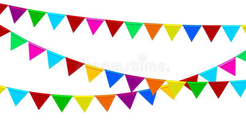 Праздничные гирлянды покрашенных флагов бесплатная иллюстрация