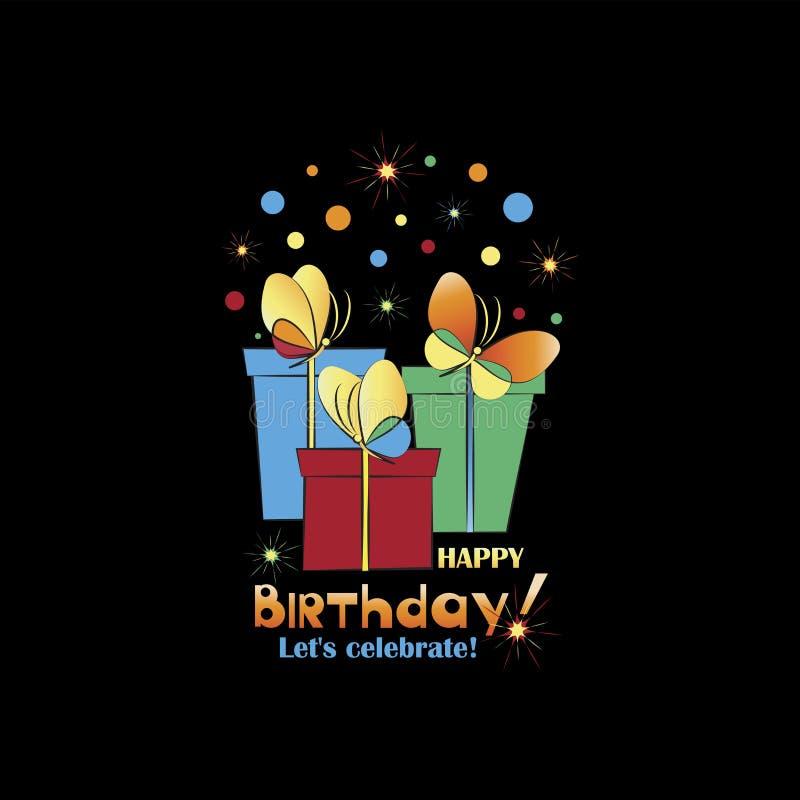 Праздничные подарки с бабочками и фейерверками день рождения счастливый иллюстрация вектора