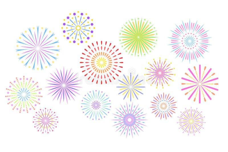 Праздничные фейерверки Фейерверк партии торжества, фейерверк фестиваля и, пиршество праздника отпраздновал красочный взрыв огня н иллюстрация штока