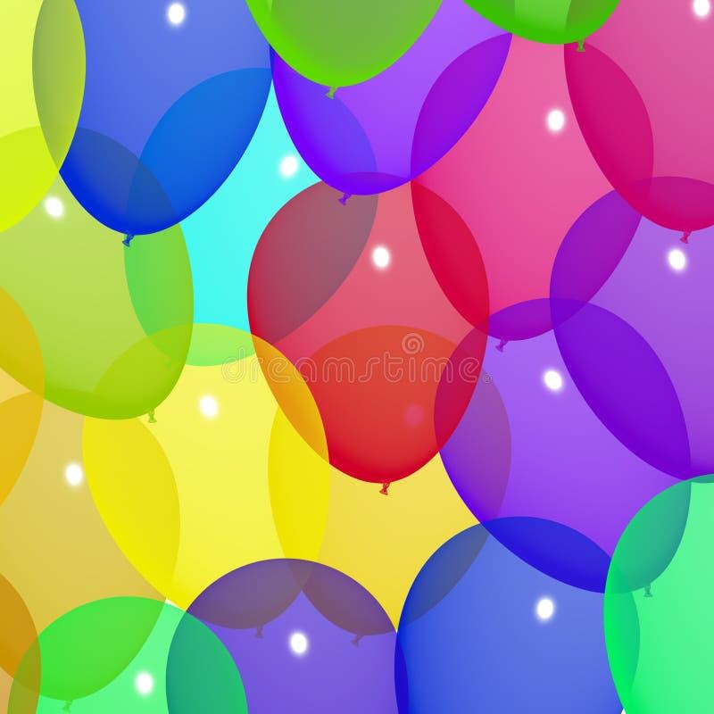 Праздничные цветастые воздушные шары в небе для дня рождения иллюстрация штока