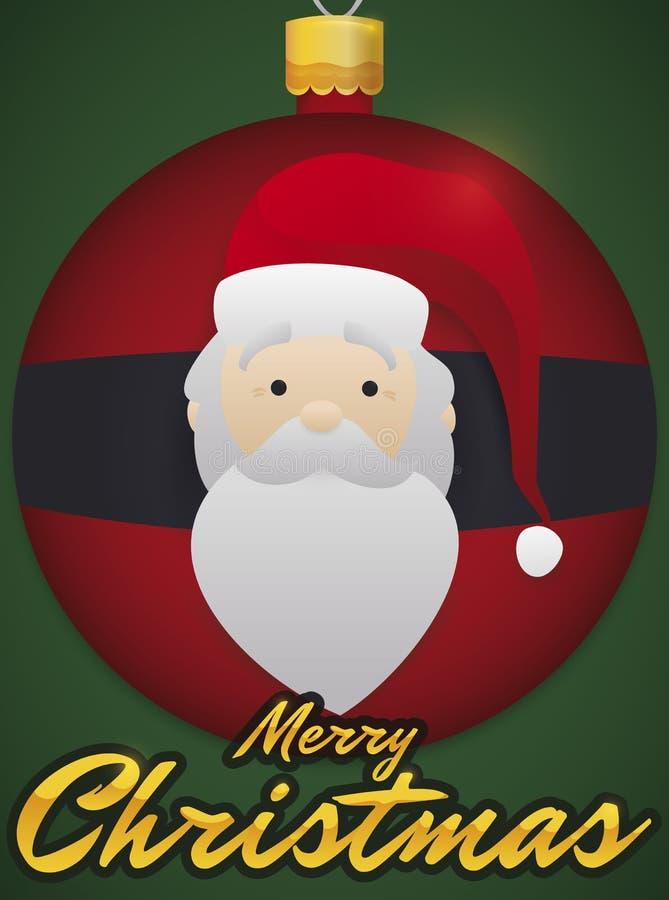 Праздничный шарик рождества с дизайном Санта, иллюстрацией вектора иллюстрация штока
