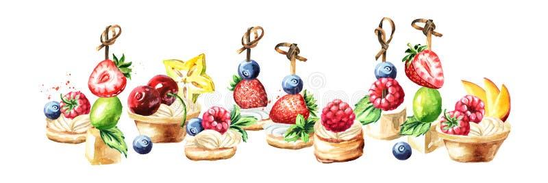 Праздничный шведский стол, сладкие канапе и пироги с плодами и ягодами Иллюстрация руки акварели вычерченная изолированная на бел иллюстрация штока