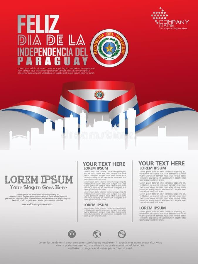 Праздновать День независимости Парагвая Абстрактный развевая флаг на иллюстрация вектора