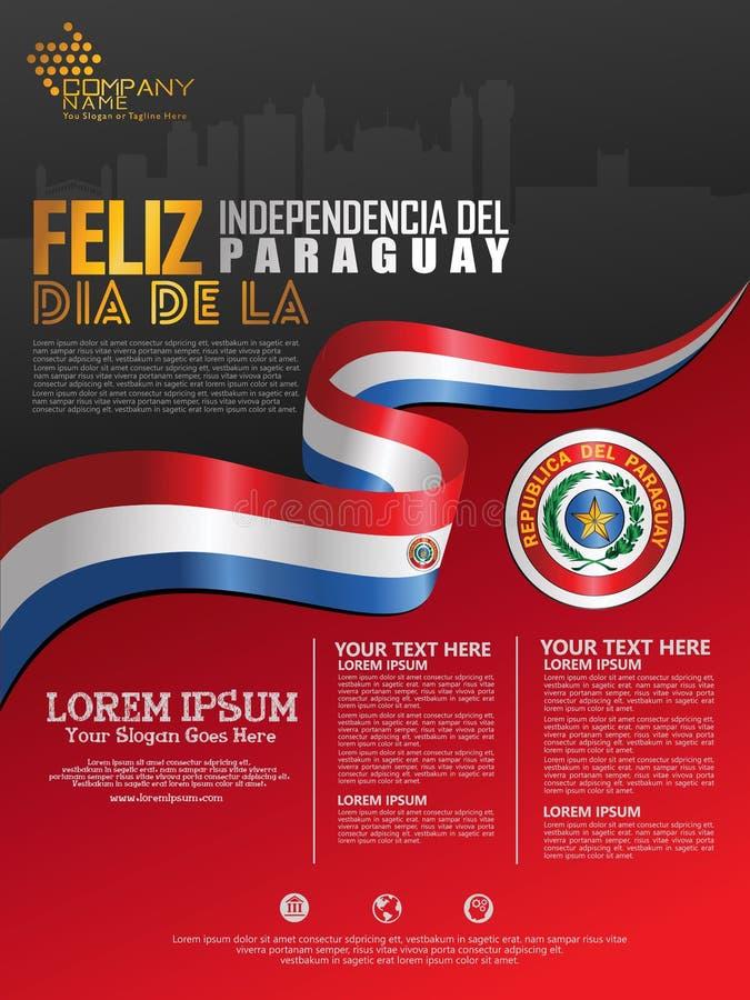 Праздновать День независимости Парагвая Абстрактный развевая флаг на иллюстрация штока