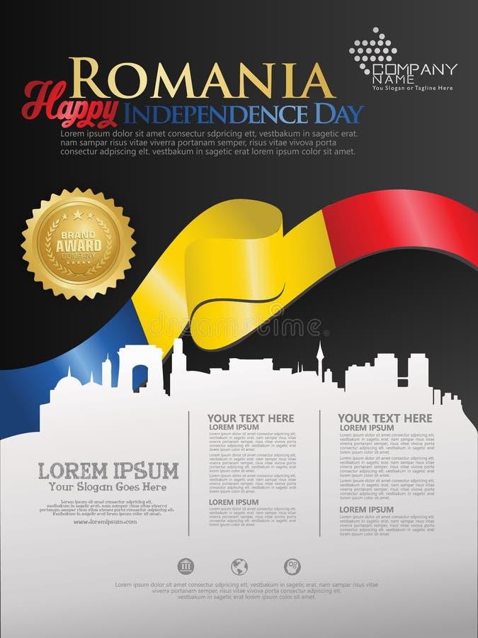 Праздновать День независимости Румынии Абстрактный развевая флаг на  иллюстрация штока