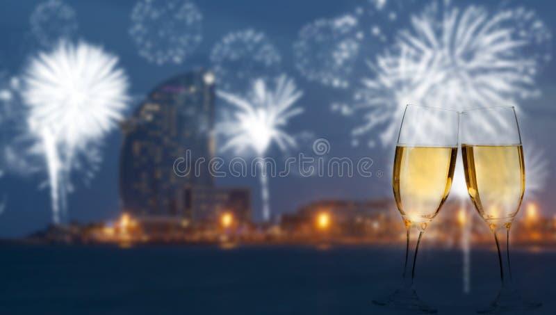Праздновать Новый Год в Барселоне стоковая фотография