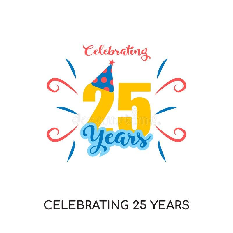 празднующ 25 лет логотипа изолированного на белой предпосылке для вашего бесплатная иллюстрация