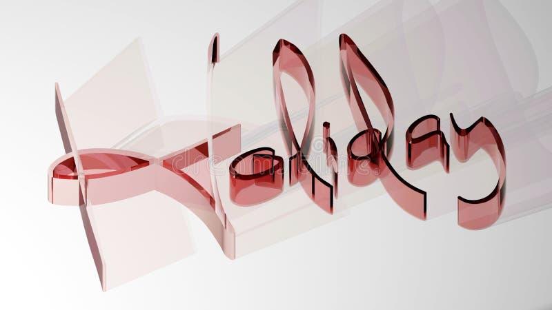 ` Праздника ` написанное с рыжеватыми полу-прозрачными письмами 3D, на белой поверхности бесплатная иллюстрация