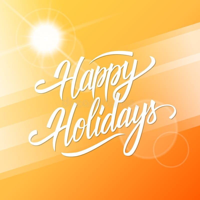 праздники карточки приветствуя счастливые Предпосылка временени с каллиграфическим дизайном текста литерности бесплатная иллюстрация