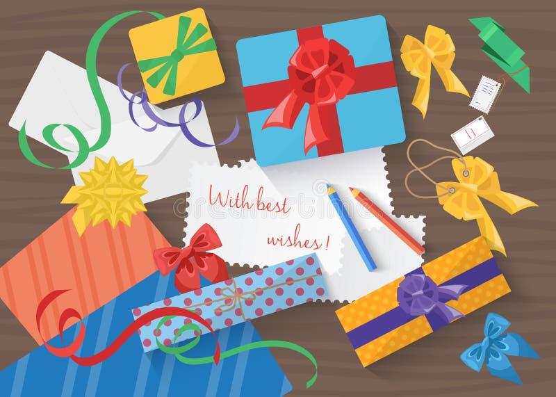 Праздники дня рождения и рождества обернули пакет подарков подарка Взгляд сверху иллюстрация штока