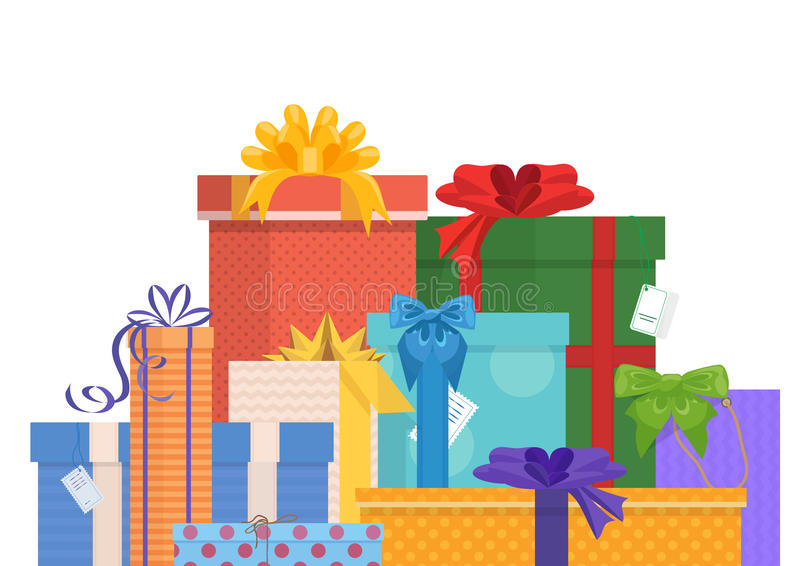 Праздники дня рождения и рождества обернули пакет подарков подарка иллюстрация штока