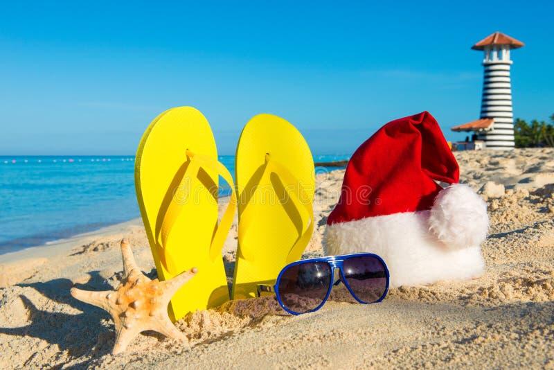 Праздники рождества и Нового Года на море стоковое изображение