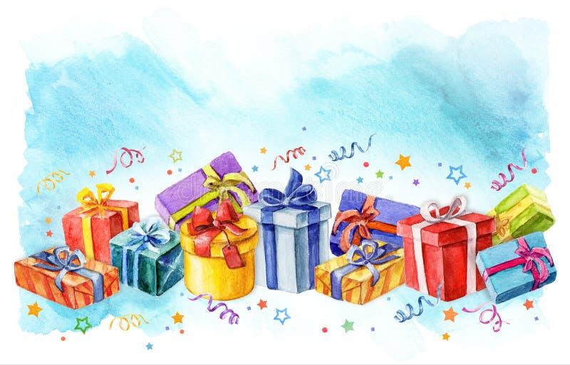Праздник представляет иллюстрацию акварели подарочных коробок ленты и звезды бесплатная иллюстрация