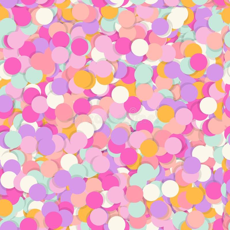 Праздничная безшовная картина с брызгать кондитерскаи Случайный беспорядок повторил текстуру розового, желтого, фиолетового цвета иллюстрация вектора