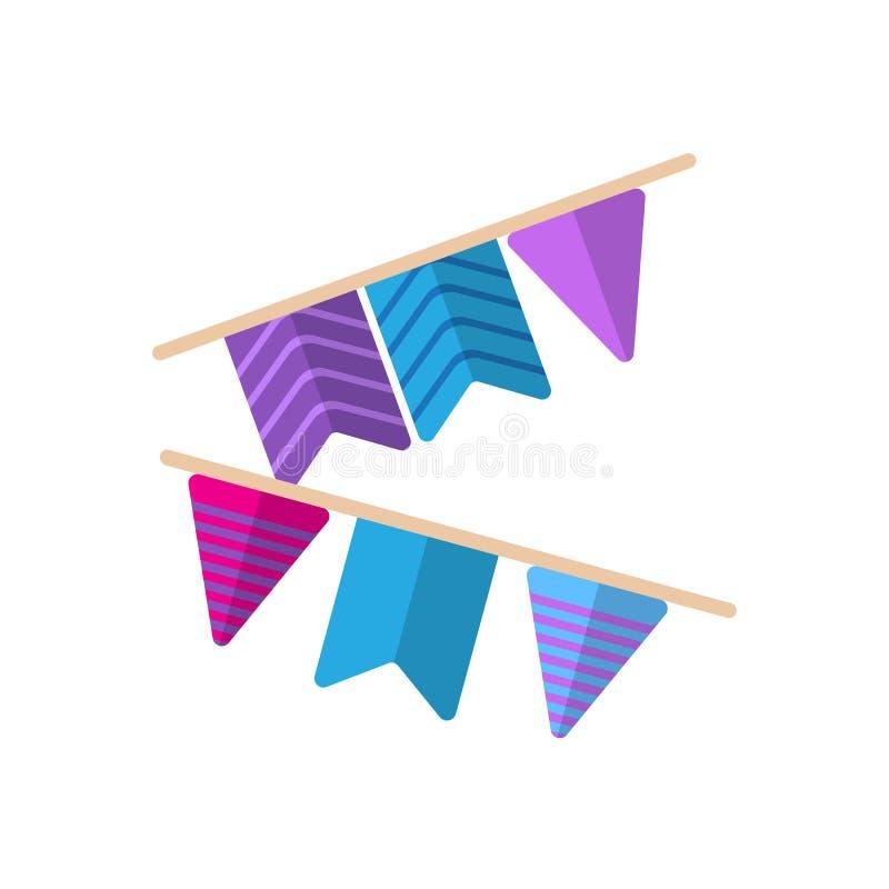 Праздничная гирлянда значка флагов плоского, заполненного знака вектора, красочной пиктограммы изолированной на белизне иллюстрация штока