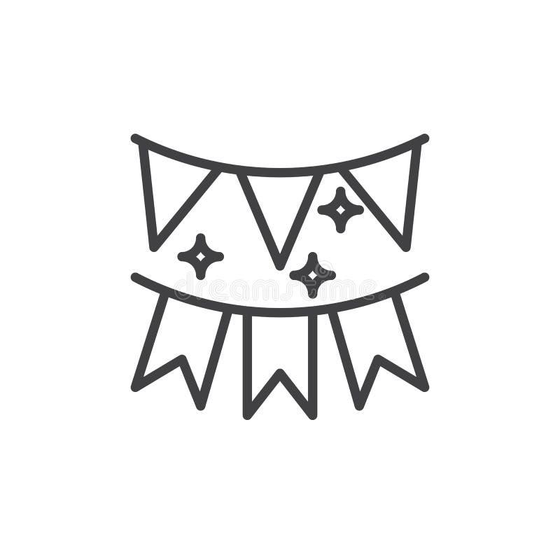 Праздничная гирлянда линии флагов значка, знака вектора плана, линейной пиктограммы стиля изолированной на белизне иллюстрация штока