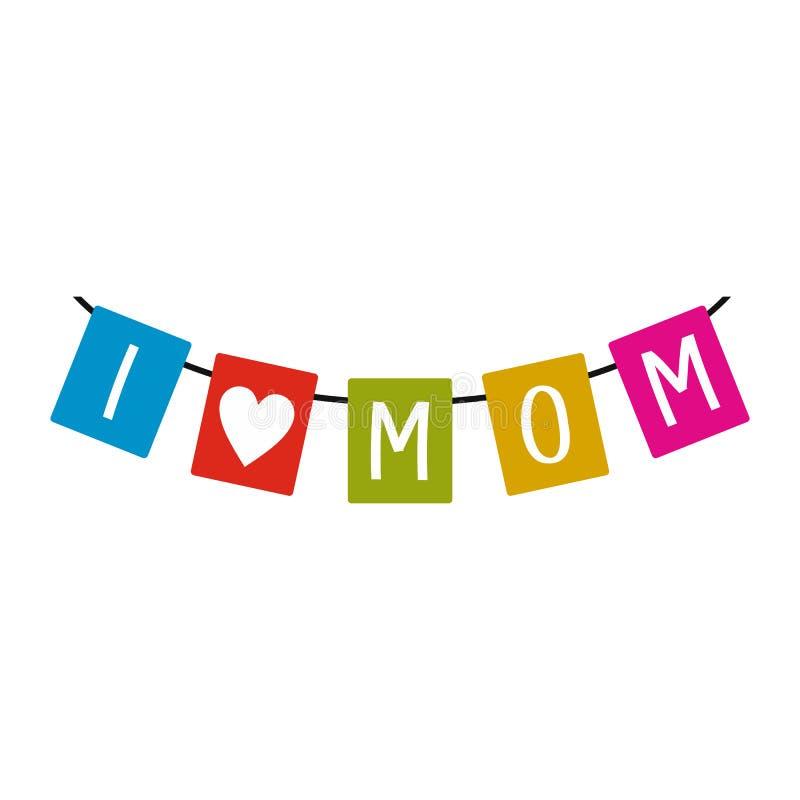Праздничная овсянка сигнализирует с значком мамы влюбленности писем i бесплатная иллюстрация