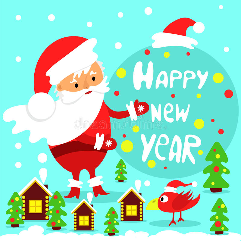 Праздничная поздравительная открытка счастливое Новый Год иллюстрация штока