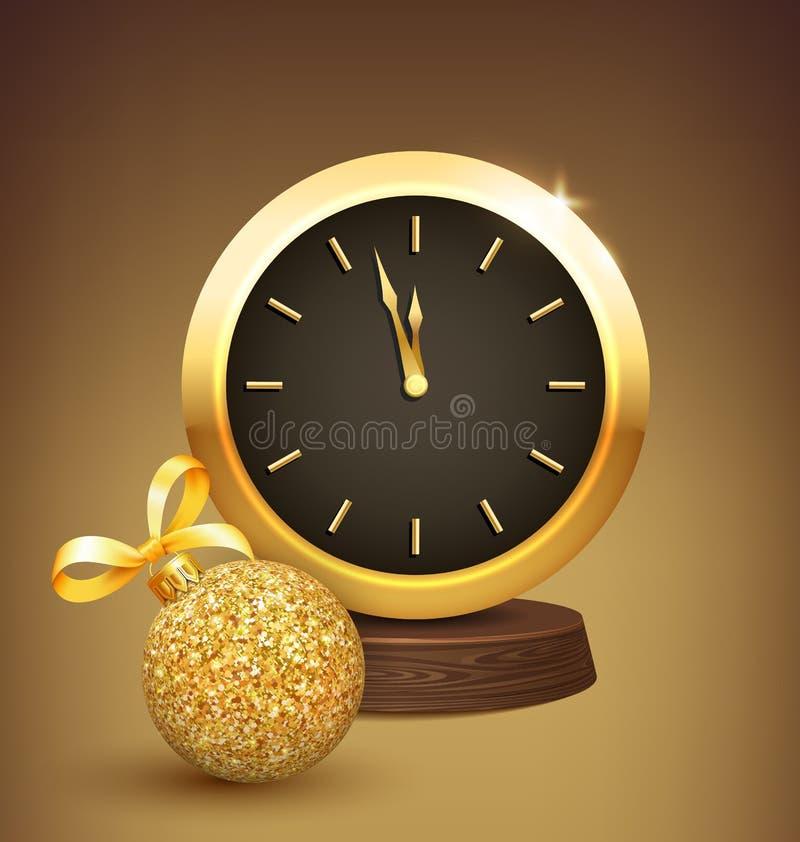 Праздничная предпосылка Нового Года с шариком и часами рождества иллюстрация вектора