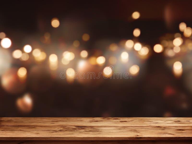 Праздничная предпосылка перед пустой таблицей стоковое изображение