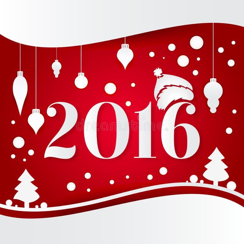 Праздничная яркая предпосылка на рождество и Новый Год Новое 2016 Украшения белого рождества, игрушки, падать снега бесплатная иллюстрация