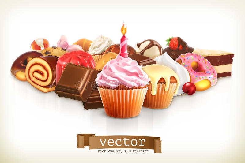 Праздничное пирожное с свечой иллюстрация вектора