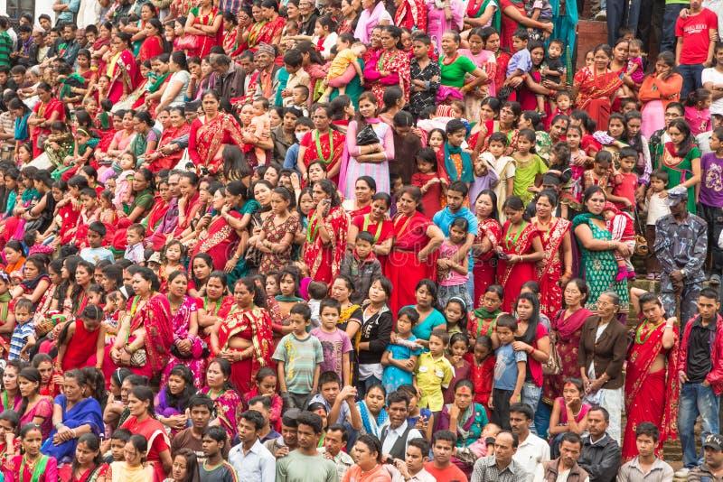 Праздновать фестиваль Teej в Катманду, Непал стоковое изображение rf
