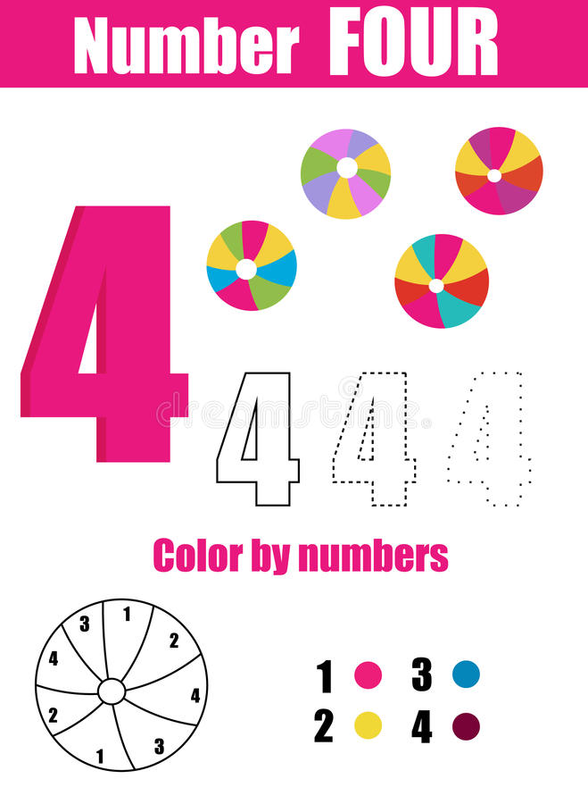 практика почерка Учить математику и номера 4 Воспитательная игра детей, printable рабочее лист для детей иллюстрация вектора