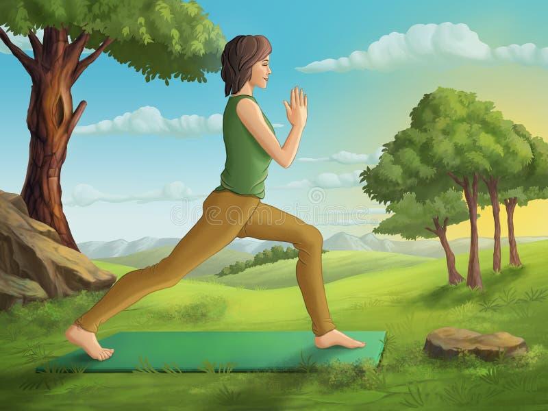 практикуя детеныши йоги женщины иллюстрация вектора