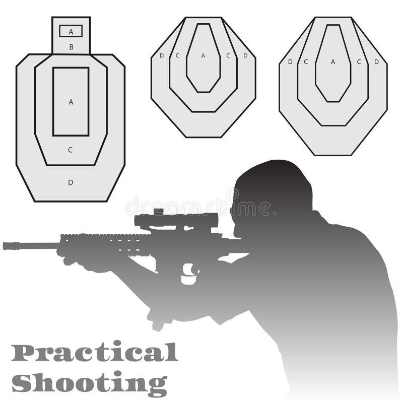 Практически иллюстрация целей человека и винтовки стрельбы стоковые изображения rf
