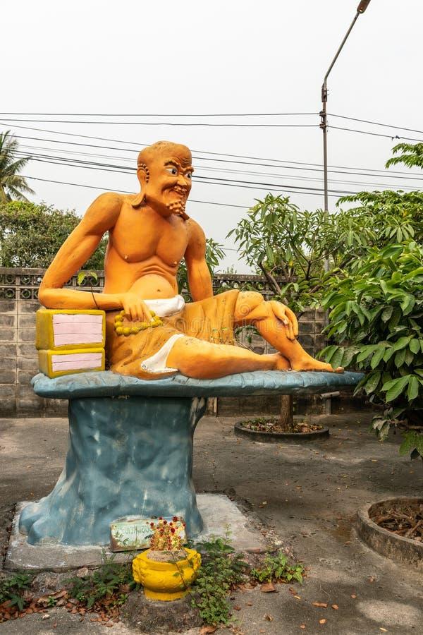 Пра Хуак Но По Сью, седьмой святой, в монастыре Ван Саен Сук, Банг Саен, Таиланд стоковое фото